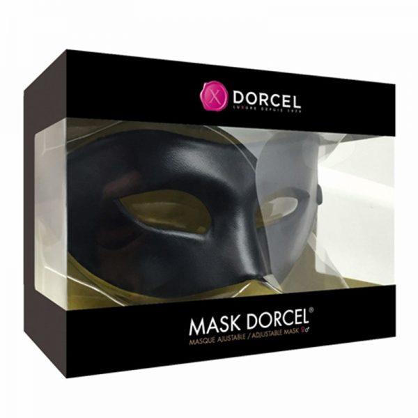 Voeg een vieugje mysterie toe aan uw rollenspel.. Het Dorcel® masker van zwart imitatieleer is perfect om uw libertijnse