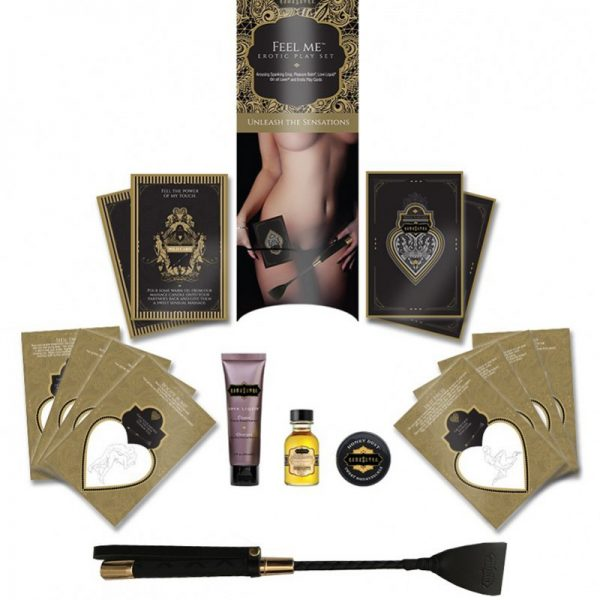 """A collectible erotic playset featuring a Kama Sutra branded spanking crop. Includes 3 sensual body products and a set of 12 Kama Sutra Play Cards: 10 Kama Sutra position cards and 2 """"Wild Cards"""" with tips and tricks about how to incorporate the included products into the game."""