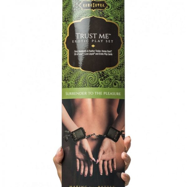 """A collectible erotic playset featuring soft brocade handcuffs with adjustable corset ties. Includes 3 sensual body products and a set of 12 Kama Sutra Play Cards: 10 Kama Sutra position cards and 2 """"Wild Cards"""" with tips and tricks about how to incorporate the included products into the game."""