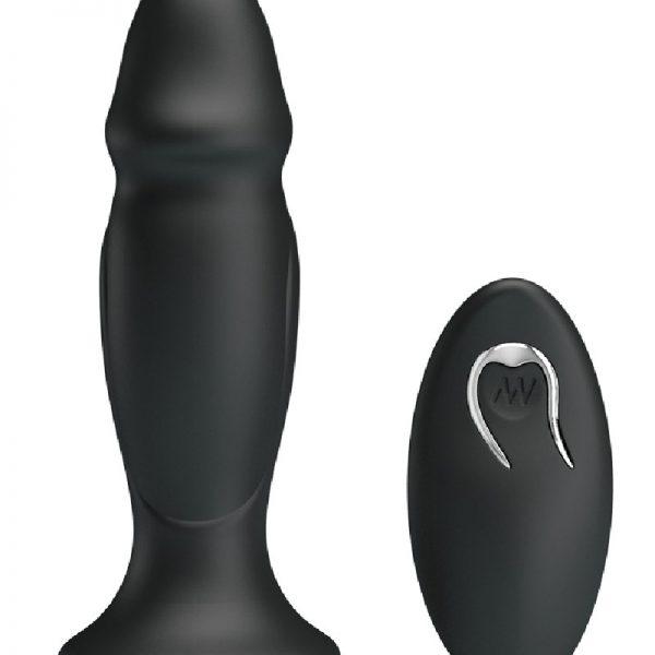 De krachtige zwarte vibrerende buttplug heeft een vorm van een penis
