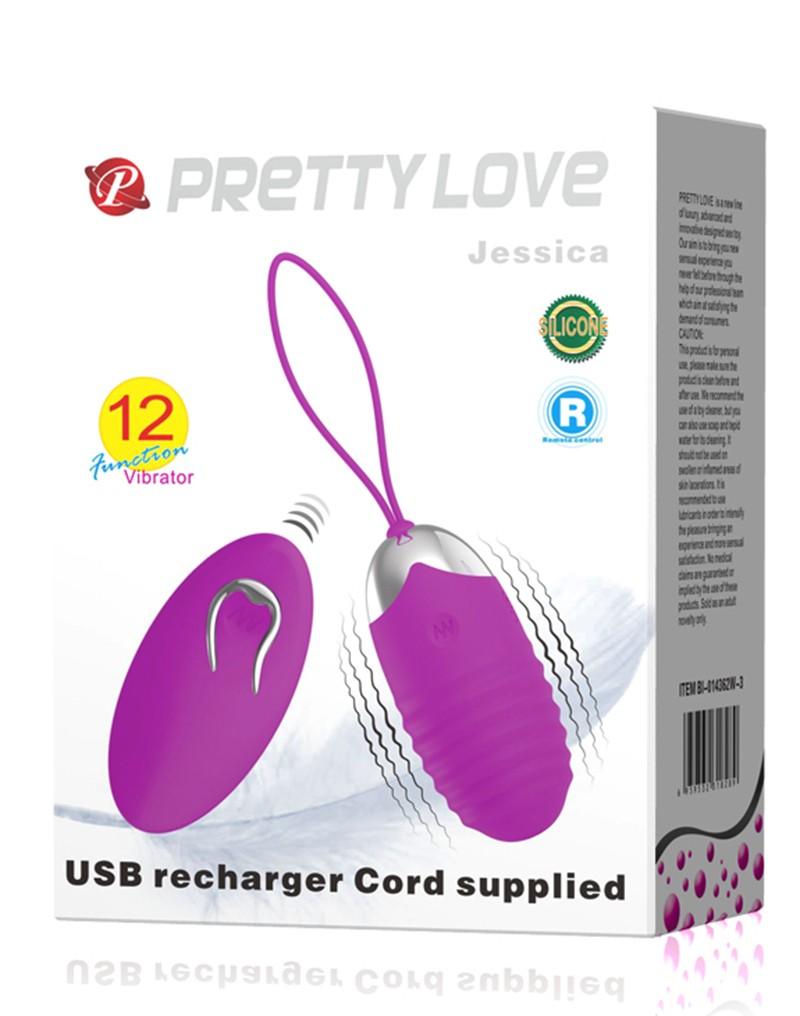 geribbelde mini-eivibrator met afstandsbediening. Jessica heeft 12 vibratiefuncties. De afstandsbediening is niet oplaadbaar en heeft 1x AAA-batterij nodig om te werken.