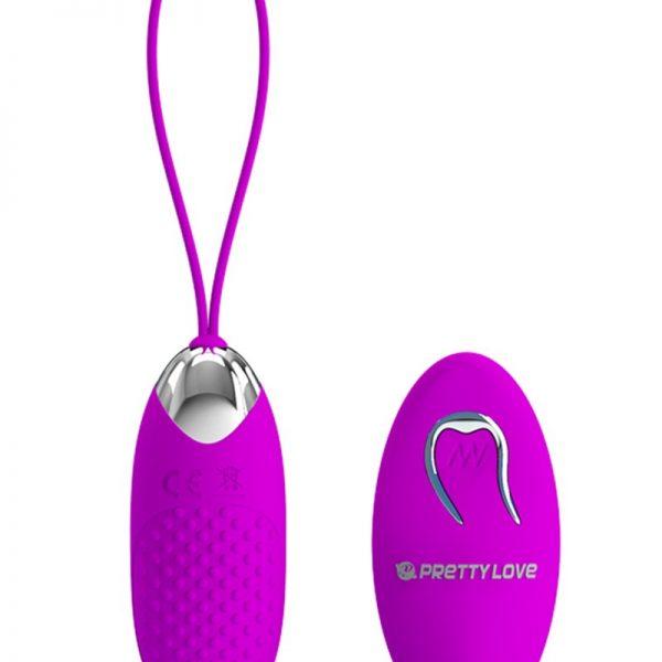 mini-ei vibrator met reliëf en afstandsbediening. Joanna heeft 12 vibratiefuncties. De afstandsbediening is niet oplaadbaar en heeft 1x AAA-batterij nodig om te werken.