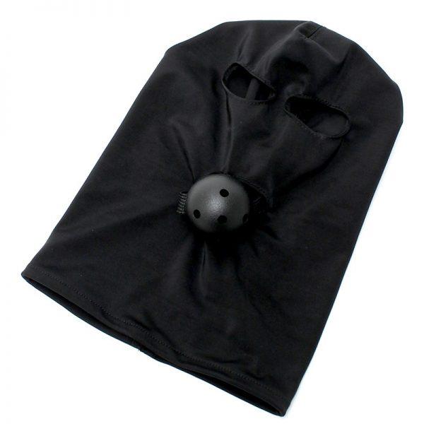Rimba Bondage Play Spandex hood with plastic ball gag of Ø 45 mm