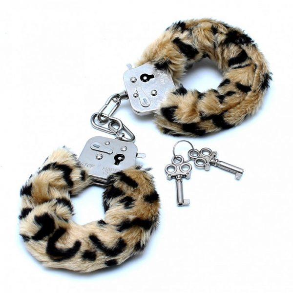 Rimba - Politie Handboeien met bont in luipaard print