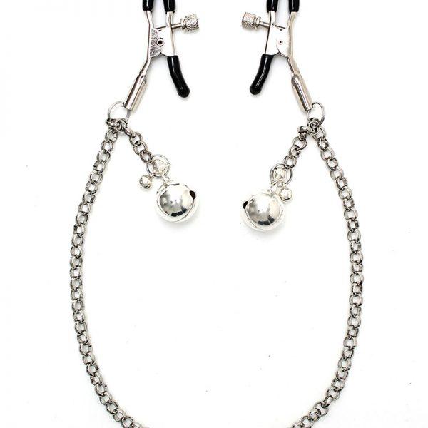 Rimba Bondage Play adjustable Nipple clamps on chain with tincle bells