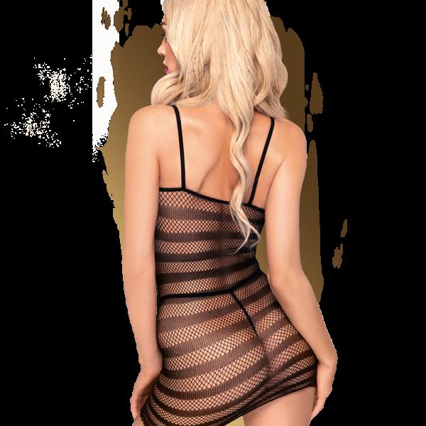 met een combinatie van fijn- en wat groffer mesh. Deze jurk is gemaakt van flexibel materiaal