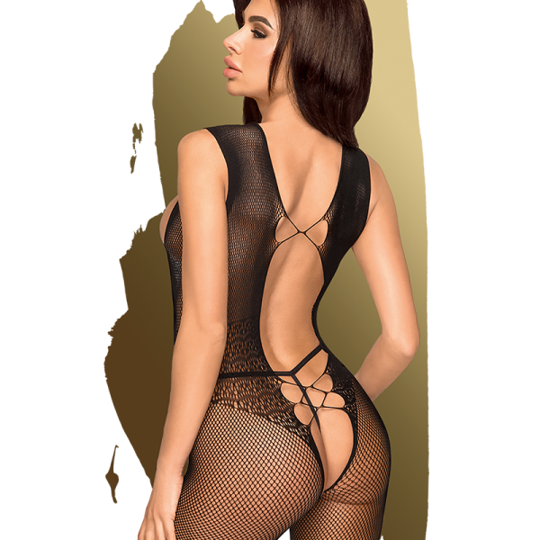 open stukjes aan de voorzijde en een sexy achterkant. Deze catsuit heeft een open kruis