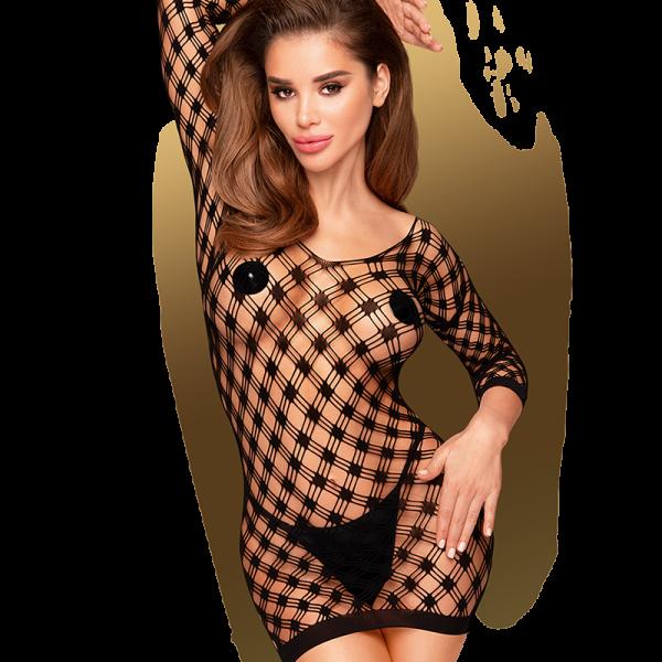 Penthouse - Passion Goddess - Mini jurkPassion Godin is een zwarte mini-jurk met 3/4 mouwen. Het jurkje heeft een ruitmotief en een mooie